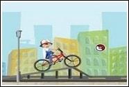 Саша и Пикачу на велосипеде